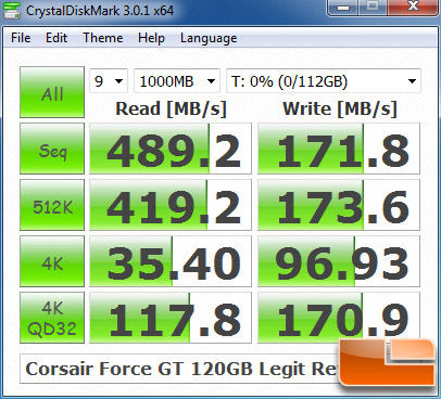 Corsair Force GT 120GB 240GB CRYSTALDISKMARK P67