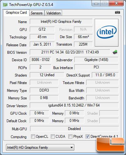 Intel Pentium G620 GPU-Z