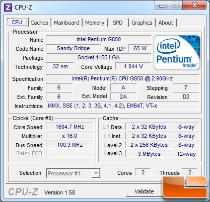 Intel Pentium G620 Processor Idle