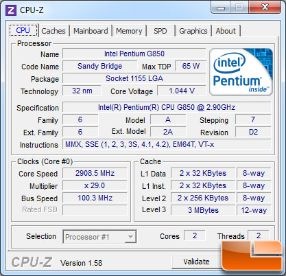 Intel Pentium G850 Processor Load State
