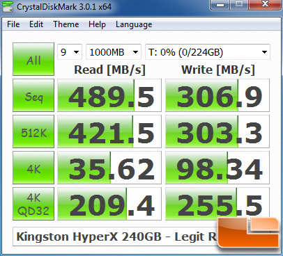 Kingston HyperX 240GB CRYSTALDISKMARK P67