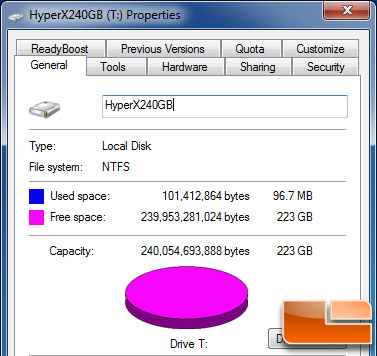 Kingston HyperX 240GB Properties