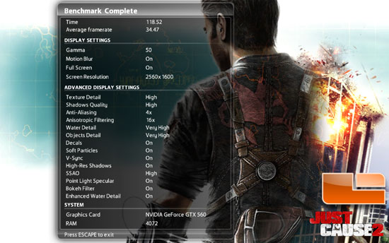 ASUS GTX 560 DirectCU II TOP Just Cause 2 Benchmark