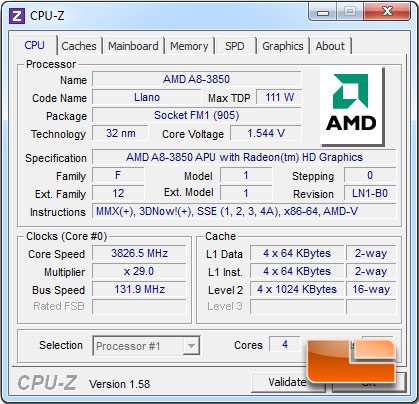 ASRock A75 Pro4 AMD A8-3850 APU Stock Speed