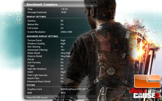 Just Cause 2 Settings and Results
