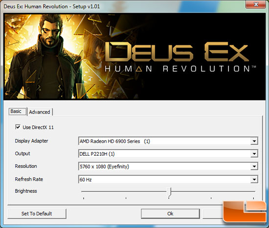 Deus Ex Human Revolution Game Settings