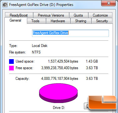 Seagate FreeAgent GoFlex 4TB Desk Drive Actual Capacity