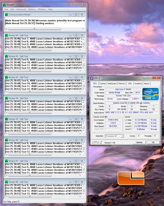 Prime 95 and CPUz at 5.2 GHz