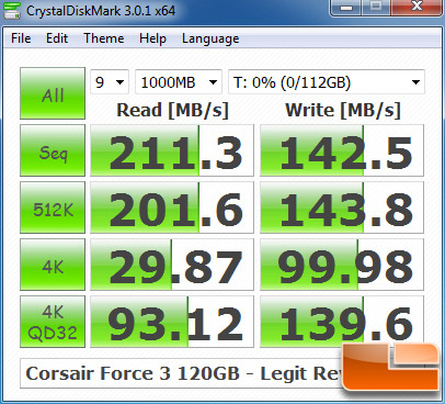 Corsair Force 3 120GB CRYSTALDISKMARK P67