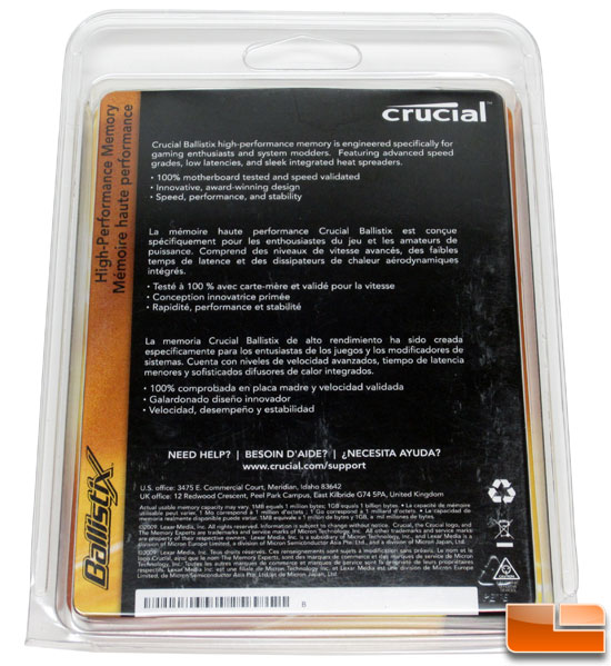 Crucial ballistix memory packaging back