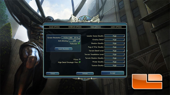 Civilization 5 gameplay benchmark settings