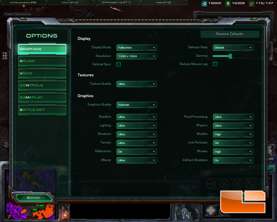 Starcraft 2 gameplay settings
