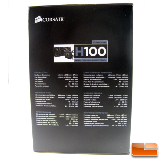 Corsair Hydro Series H100 box end specs