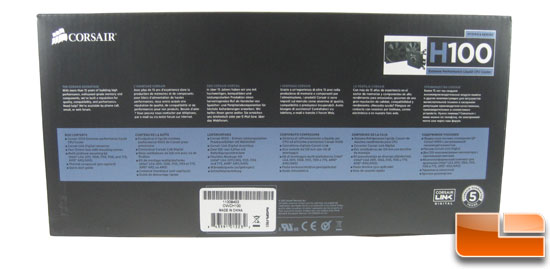 Corsair Hydro Series H100 box side contents