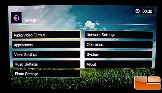 WD TV Live Setup Menu
