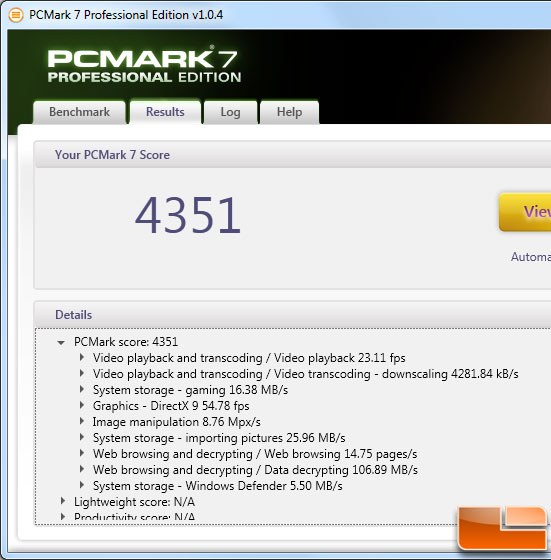 AMD FX-8150 PCMark 7 Benchmark Results