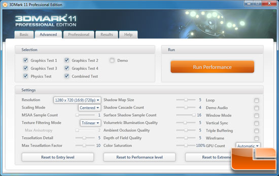 Futuremark 3DMark 11 Benchmark Settings