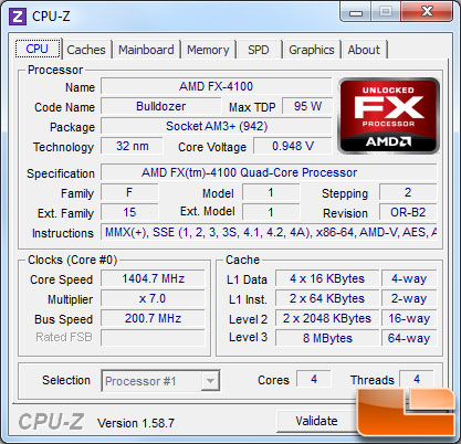 AMD FX-4100 Bulldozer Processor Idle