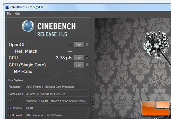 AMD FX-4100 Bulldozer Processor Cinebench Overclock