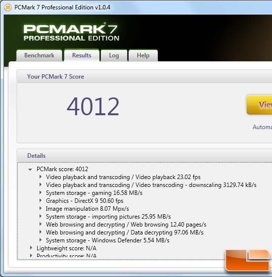 AMD FX-4100 PCMark 7 Benchmark Results