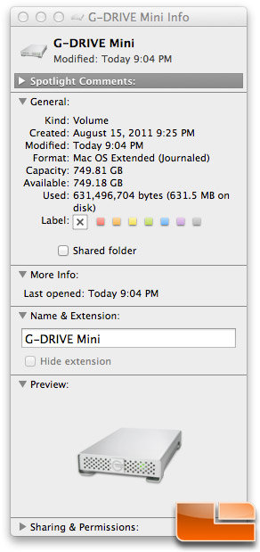 G-Technology G-DRIVE Mini OS X Get Info