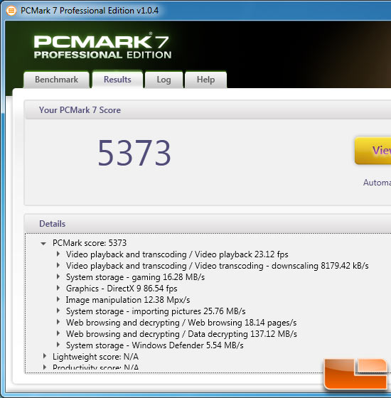 Intel Core i7-3960X PCMark 7 Benchmark Results