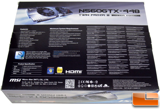 MSI N560GTX-448 video card Video Card Retail Box Front