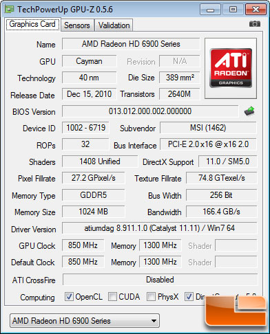 MSI R6950 Twin Frozr III PE/OC Test Settings