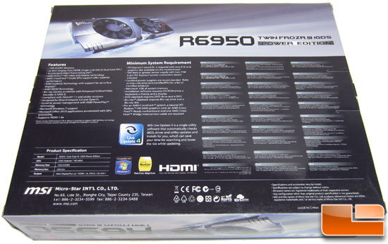MSI R6950 Twin Frozr III 1G/OC video card Video Card Retail Box Back