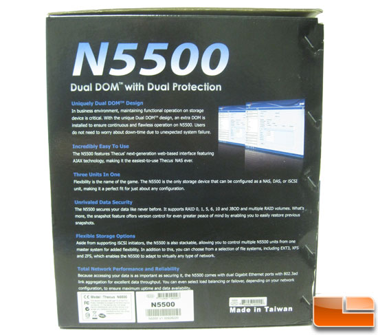 Thecus N5500 5 bay NAS other box side