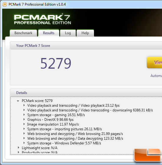 Intel Core i7-3820 PCMark 7 Benchmark Results