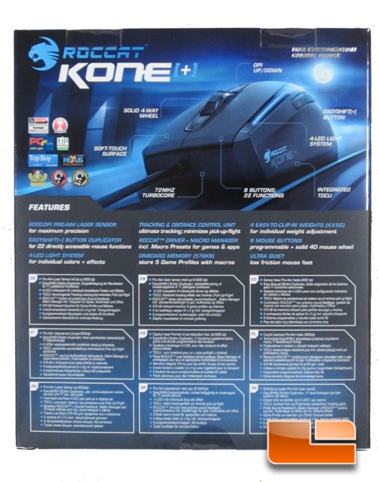 Roccat Kone Plus box back