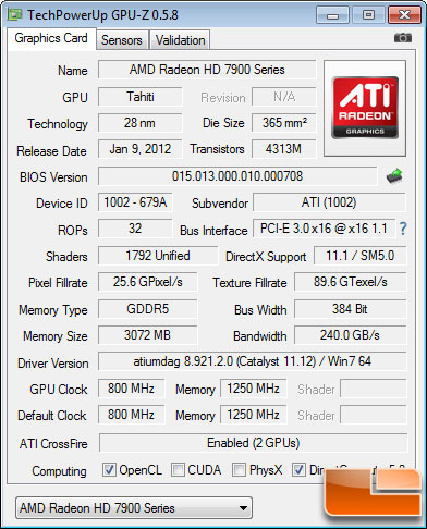 AMD Radeon HD 7950 Test Settings