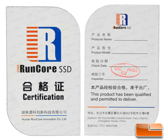 RunCore Pro V 120GB Inspection