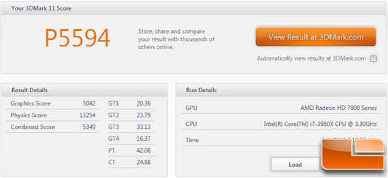 AMD Radeon HD 7850 3DMark11 Stock