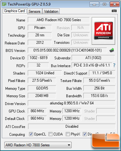 AMD Radeon HD 7850 2GB GPU-Z