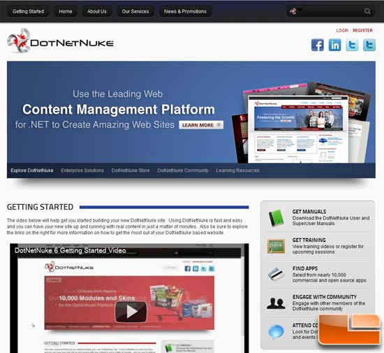 DotNetNuke Sample Site
