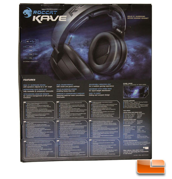 Roccat Kave gaming headphones box back