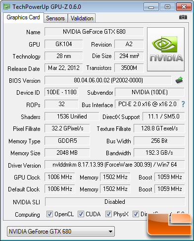 NVIDIA GeForce GTX 680 GPU-Z