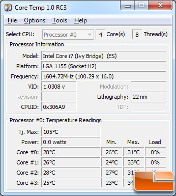 Intel Core i7-3770K Processor Temperature at Load