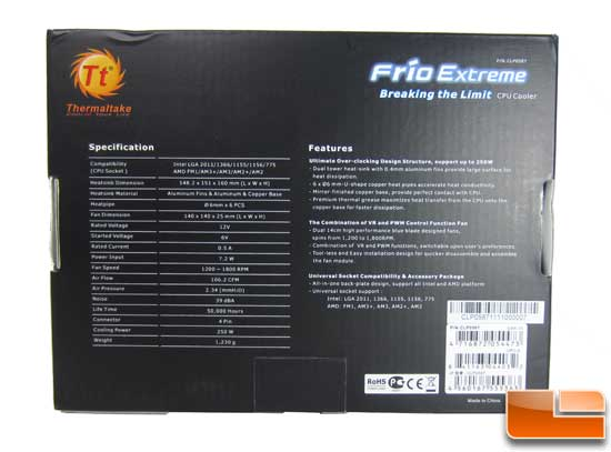 Thermaltake Frio Extreme box back