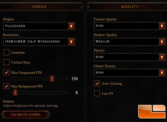 Diablo III Image Quality Settings