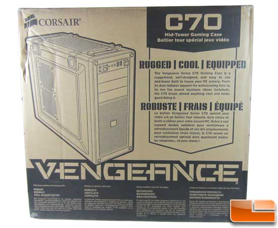Corsair Vengeance C70 front of the box