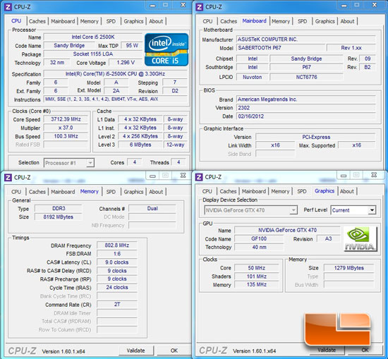 Intel Core i5 2500k Test System Specifications