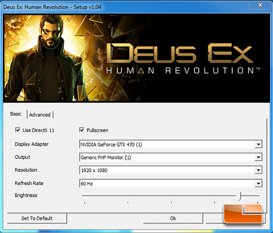 Deus Ex Test Settings