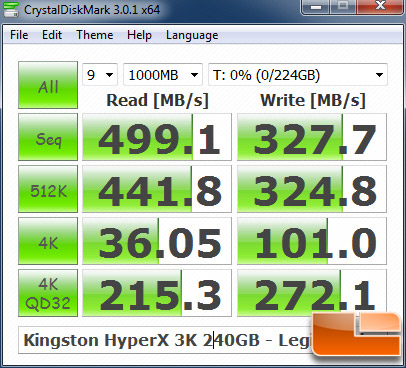 Kingston HyperX 3K 240GB CRYSTALDISKMARK P67