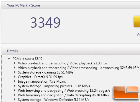 PCMark 7 Benchmark Results