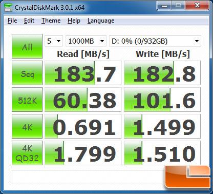 CrystalDiskMark v3.0.1c Benchmark Results
