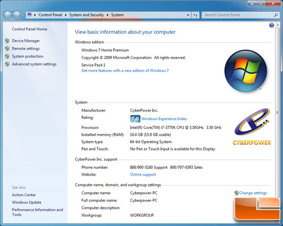 CyberPower Gamer Ultra 2098 Windows System Info