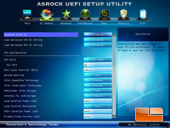 ASRock Z77 Pro3 Overclocking Settings
